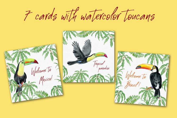 7 cards with watercolor toucans example image 1