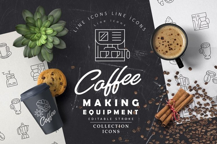 Coffee making equipment icons example image 1