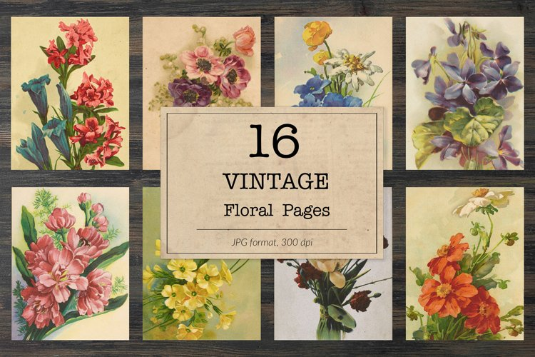 Floral bookpages, junk journal kit example image 1