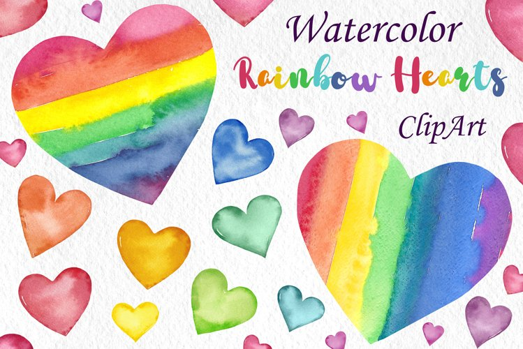 Watercolor Rainbow hearts clipart