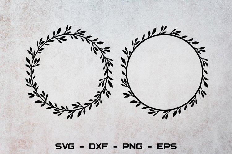 Laurel wreath svg, Circle monogram svg, Leaf frame svg example image 1