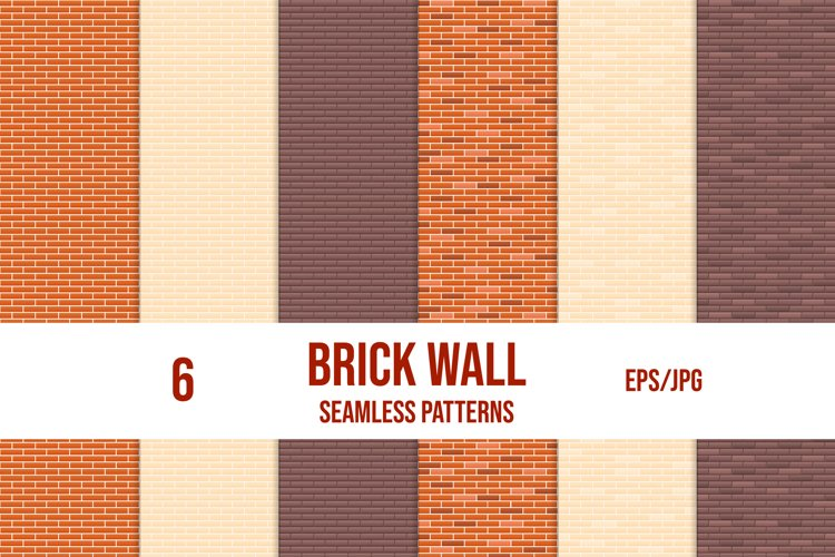 Set of brick wall seamless patterns. Vector tile patterns. example image 1