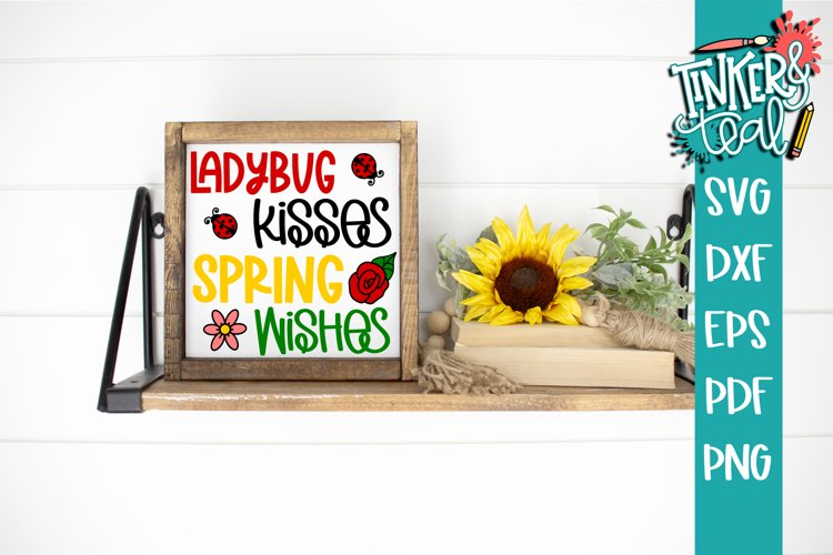 Ladybug Kisses Spring Wishes SVG Cut file example image 1