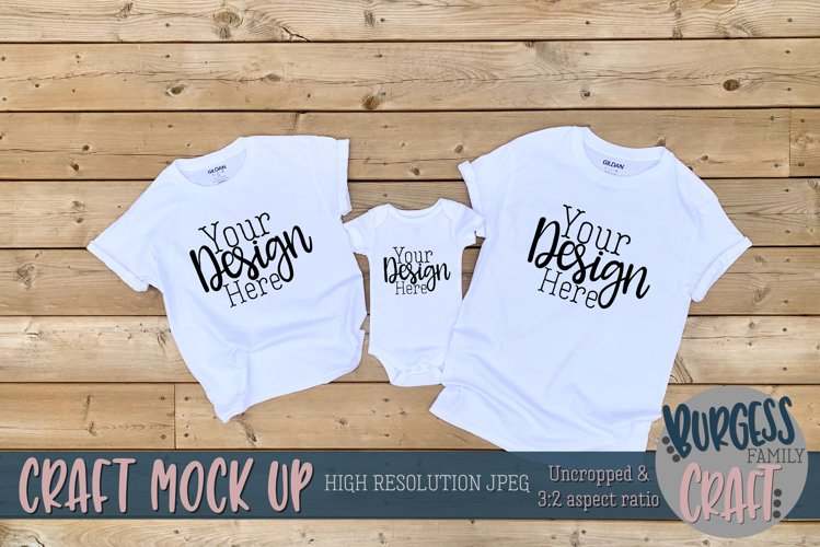 Parent, child and baby white Gildan t-shirt  Craft mock up example image 1