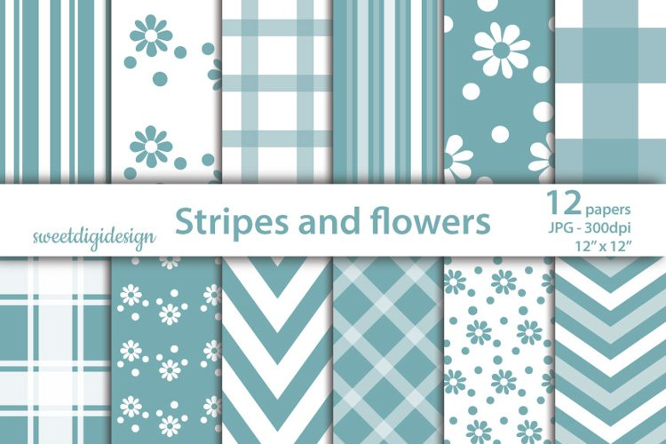 Gingham, striped and floral pattern example image 1