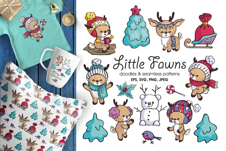 Little fawns. Christmas doodles and seamless patterns example image 1