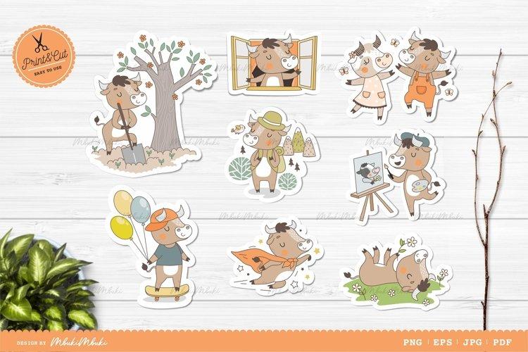 Ox Cartoon Characters Printable Stickers Cricut Design