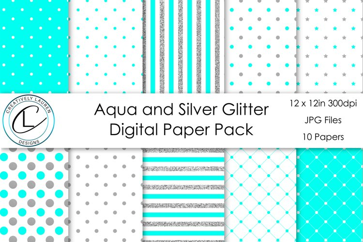 Aqua and Silver Digital Paper Pack example image 1