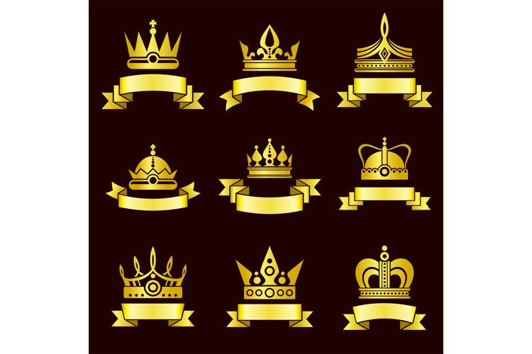 Gold crowns and ribbon banner vector set example image 1