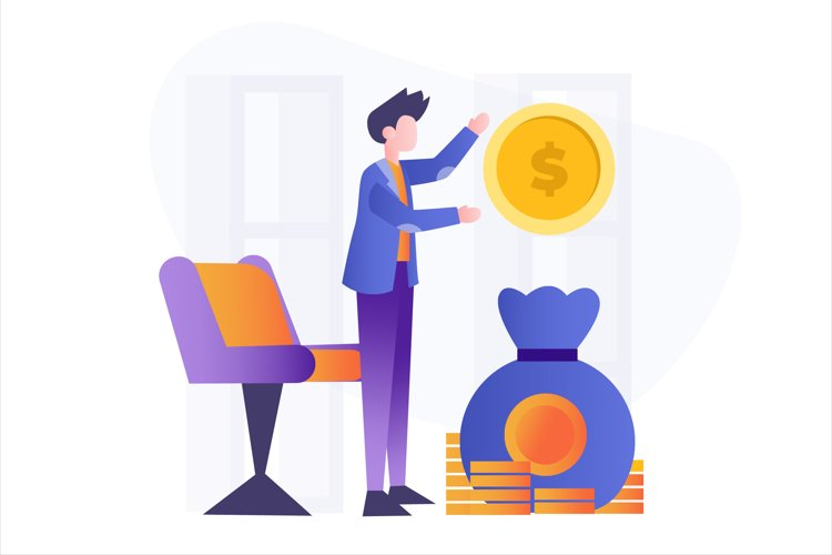 Investment Money Flat Vector Illustration example image 1