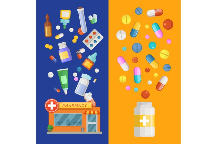 Vector medicines vertical banner templates with medicines an example image 1