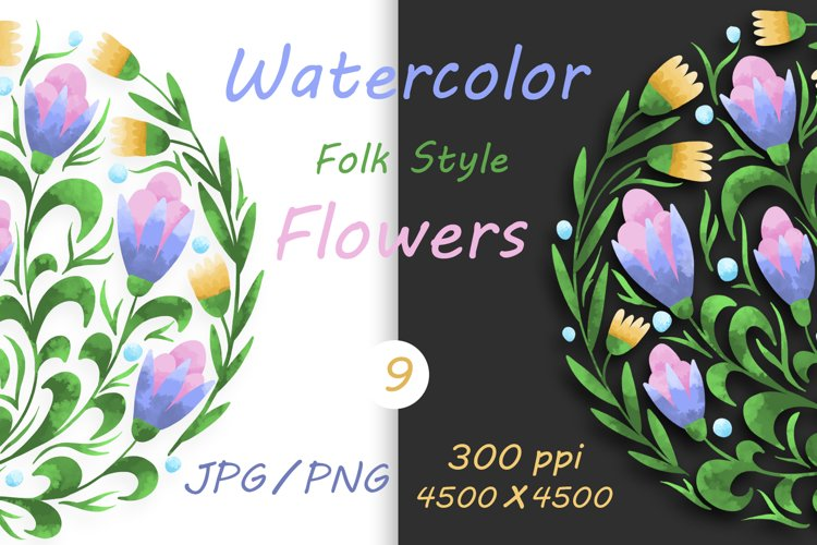 Flowers in folk style drawn with watercolor 9 example image 1