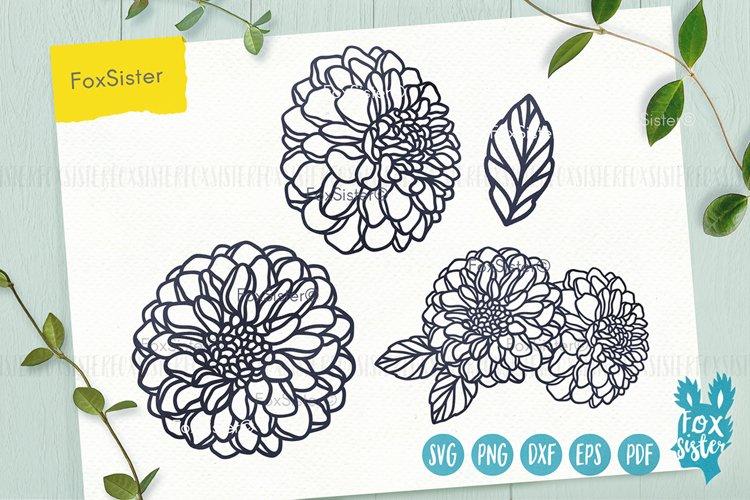 Flower svg, Clipart Vector Cut File, Floral svg, Dahlia svg example image 1