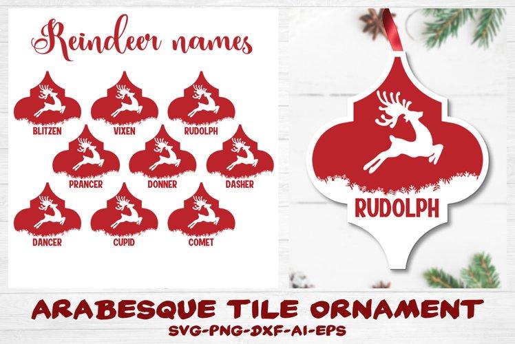 Reindeer Names Arabesque Tile Ornament Christmas Bundle