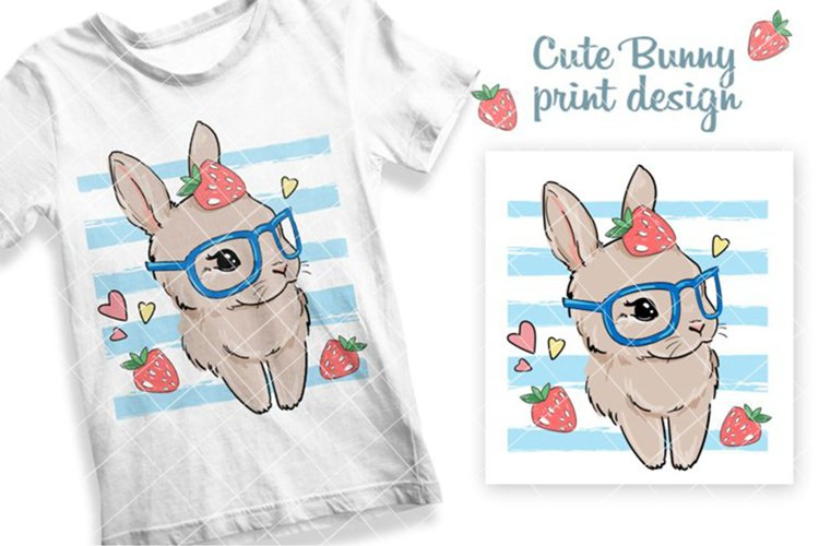 Cute Bunny on a striped background with strawberry. example image 1