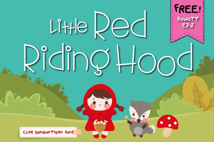 Little red riding hood Handwritten- cute kid font Kawaii example image 1