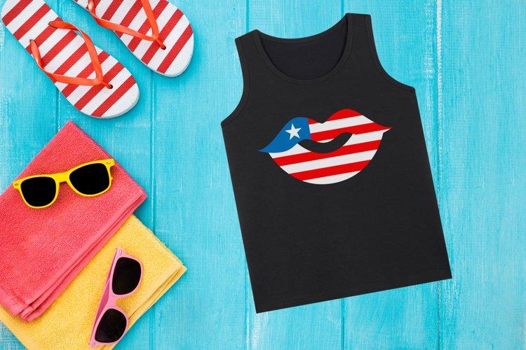 Patriotic American Lips SVG Design File
