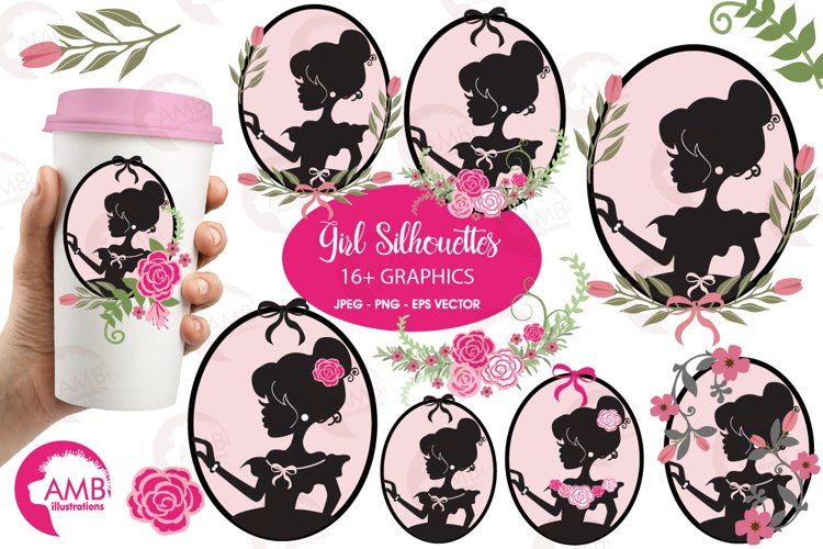 Girl Silhouettes clipart, graphics, illustrations AMB-854 example image 1