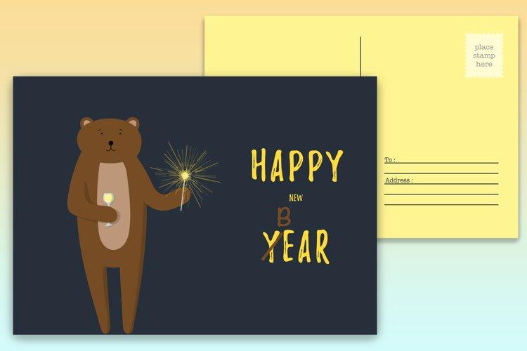 New Year postcard with cute bear