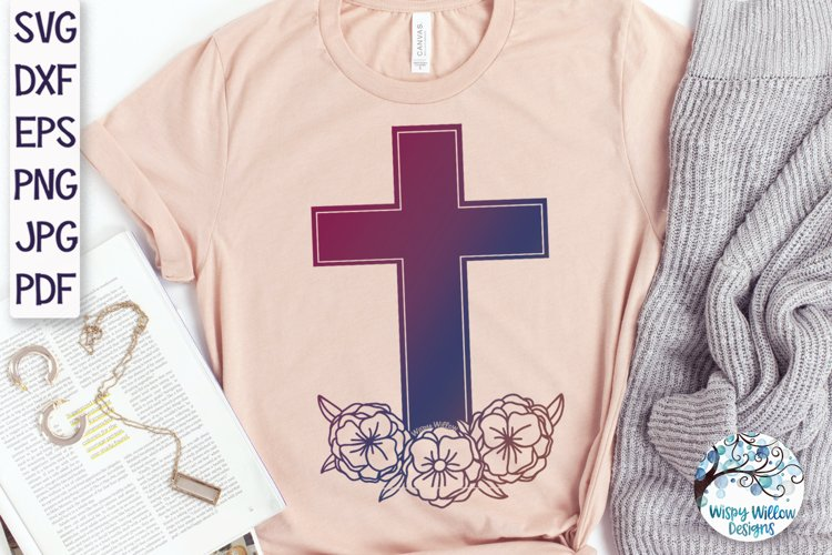 Floral Cross SVG   Cross With Flowers SVG example 1