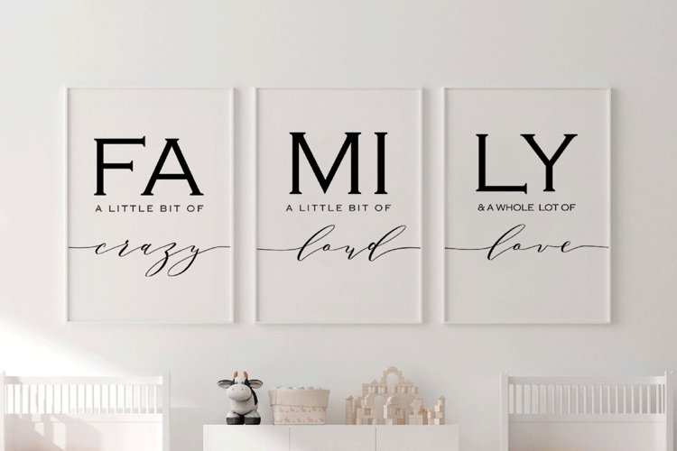 Set of 3, Family sign,Family a little bit of crazy print example image 1