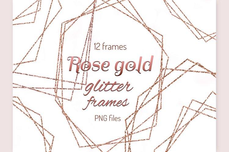 Rose gold frames Glitter frame clipart Invitation decor example image 1