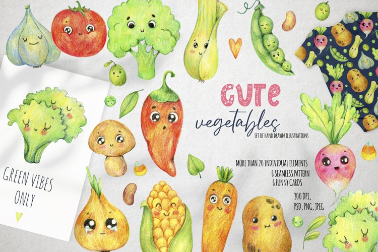 Cute vegetables clipart. Digital paper set