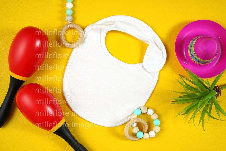 Cinco De Mayo White Baby Bib SVG Mockup Styled Stock Photo