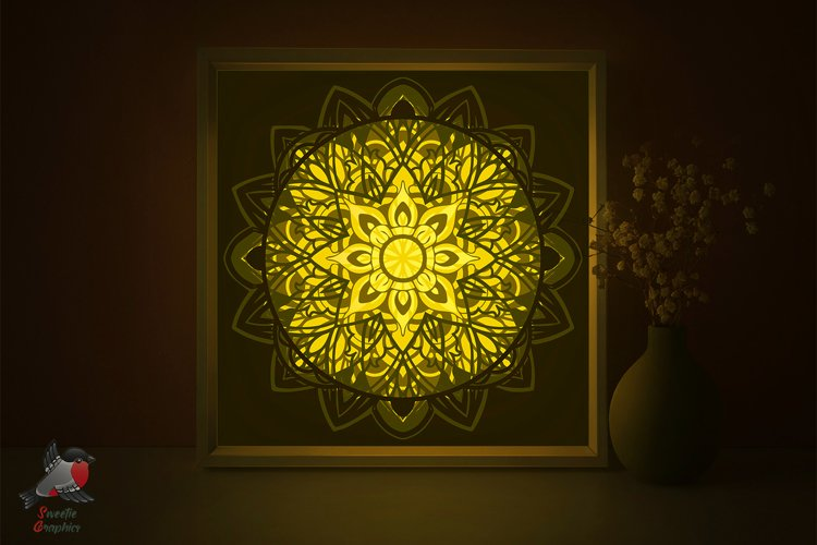 Mandala Multilayered Lightbox Shadow Box SVG Template example image 1