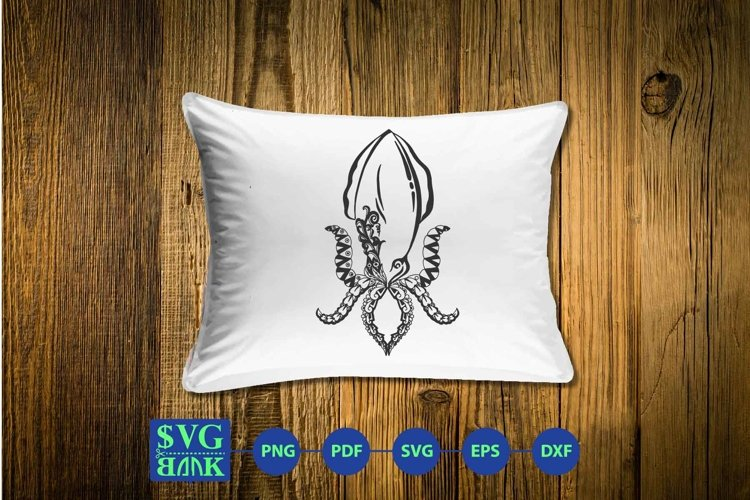 Mandala squid svg, Zentangle squid cut file