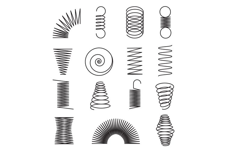 Metal springs. Spiral lines, coil shapes isolated vector sym example image 1