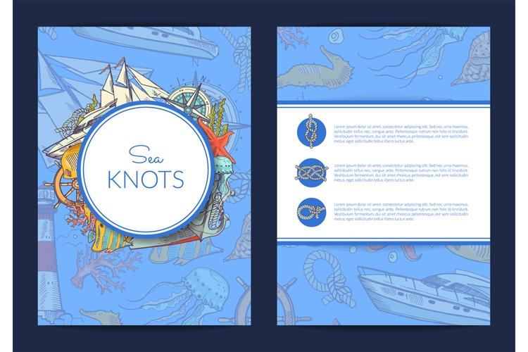 Vector card or brochure template with colored and sketched s example image 1