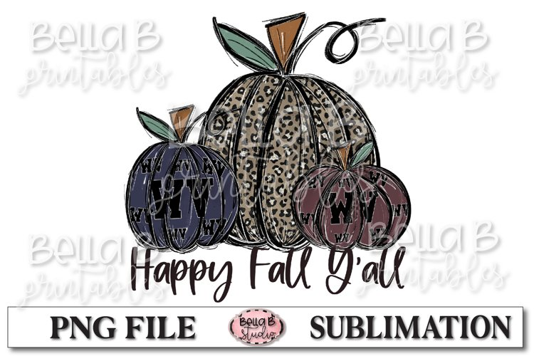 West Virginia Fall Pumpkins Sublimation Design example image 1