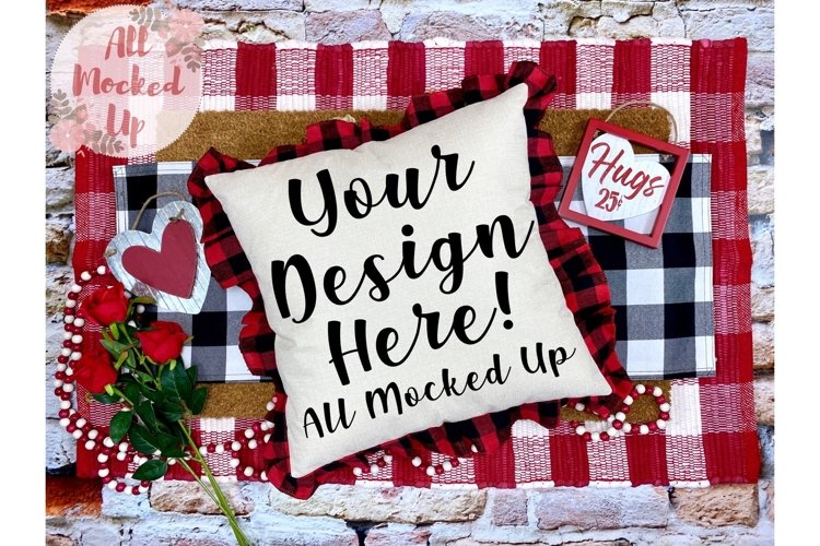 Red & Black Plaid Pillow Mock Up Valentines Theme 1/21