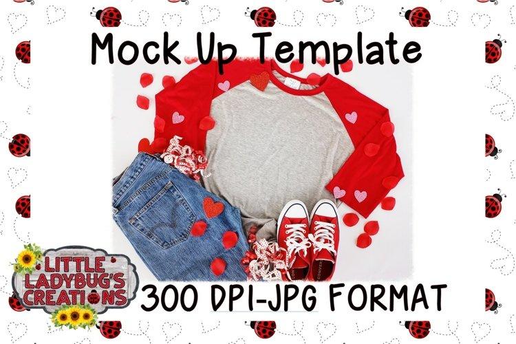 Valentine Raglan Mock Up Digital Image example image 1