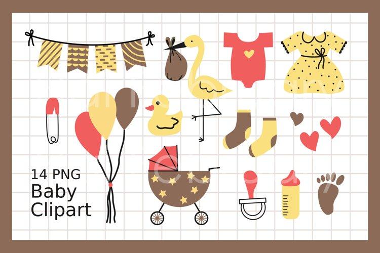 Newborn Baby Clipart Set Digital Illustration