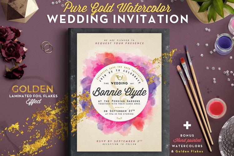 Pure Gold Watercolor Wedding Invite example image 1