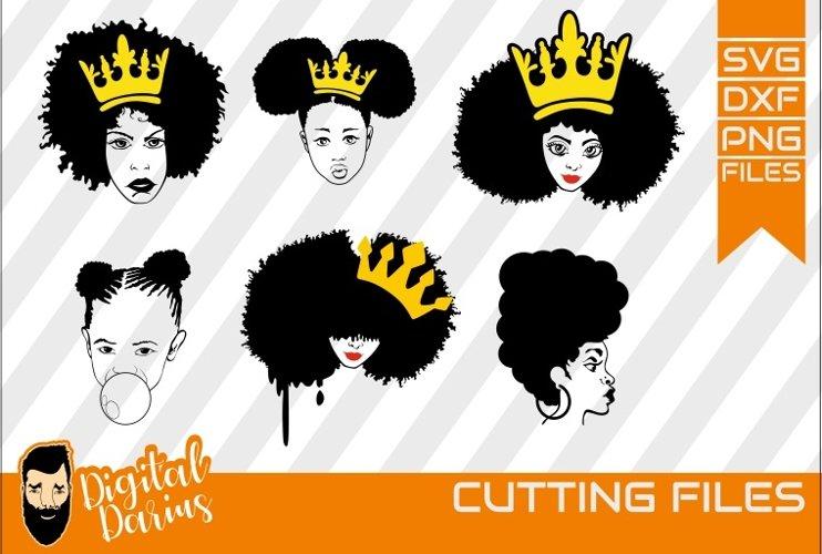 6x Black Woman Bundle SVG, afro lady svg, natural hair example image 1