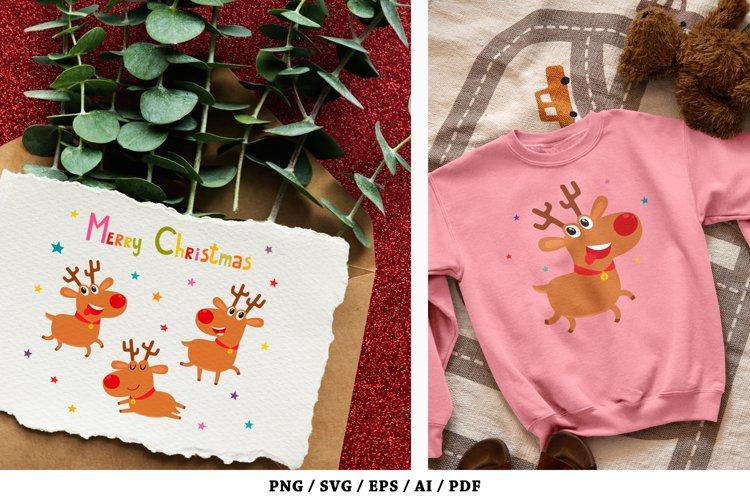 Cute Christmas reindeers, Merry Christmas - SVG, PNG example image 1