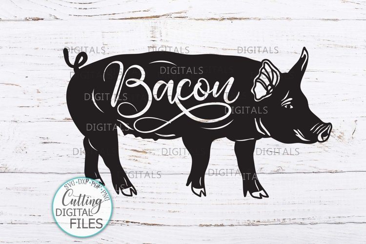 Pig with Bacon word svg dxf cricut cut file farmhouse sign example image 1