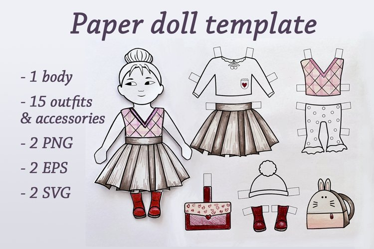DIY Paper doll template of a cute girl and vintage outfits