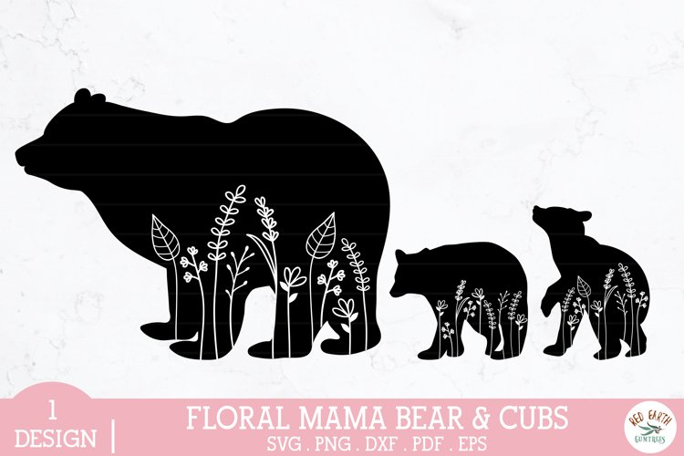 Floral mama bear and baby bear cubs svg,mothers day bear
