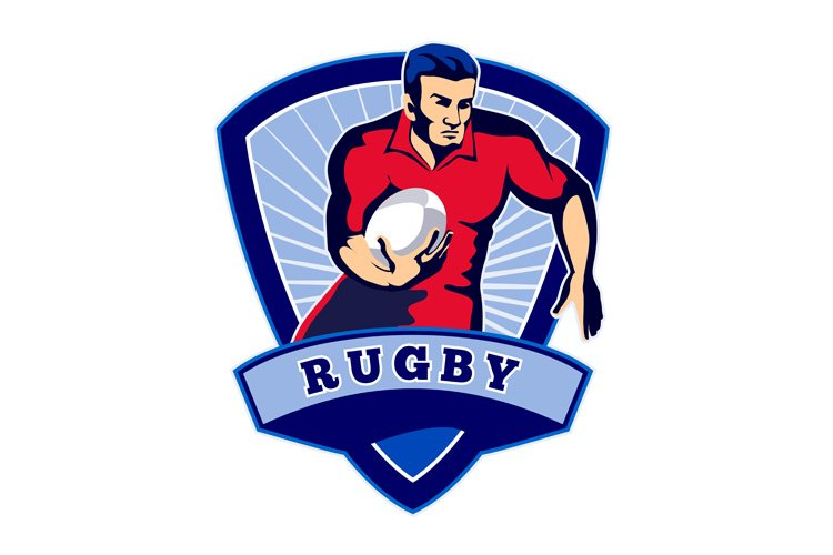 Rugby player running ball front shield example image 1