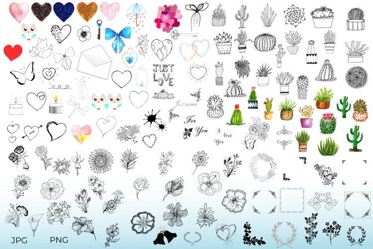 Hand Drawn Cactus, Succulents, Flowers & Love Bundle Clipart
