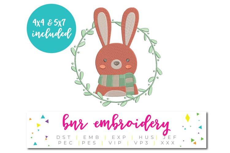 Bunny Wreath Machine Embroidery Design, Animal example image 1
