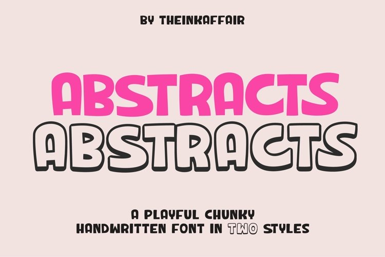 Web Font Abstracts - a chunky handwritten font   Two styles example image 1