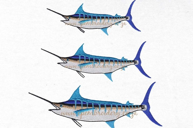 Blue Marlin Fish Machine Embroidery Design example image 1