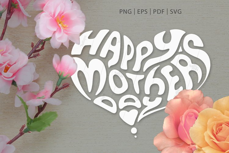 Heart-Shaped Lettering SVG, PNG, Mother's Day & Father's Day example image 1