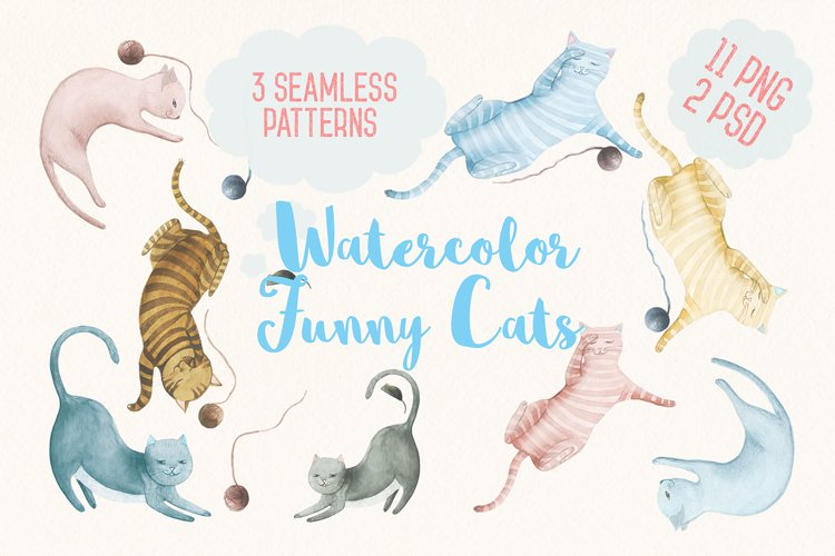 Watercolor Funny Cats example image 1