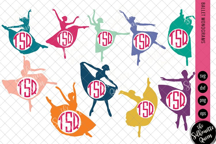 Ballet Svg Monogram, Circle Frames, Cuttable Design example image 1